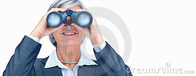 Happy business woman with binoculars over white
