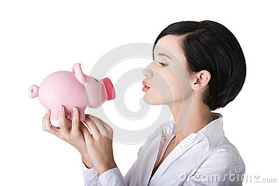 Happy business woman with her savings