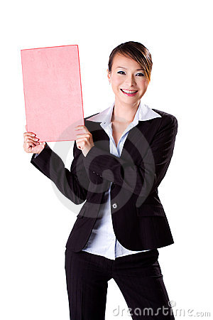 Happy business woman holding a blank board