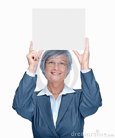 Happy business woman holding up a blank billboard