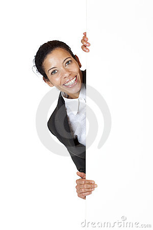 Happy business woman holds billboard with ad space