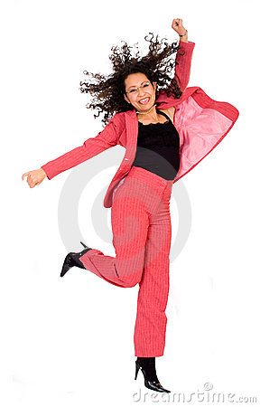 Happy business woman jumping