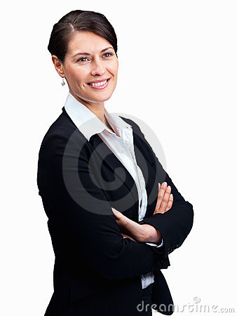 Happy business woman looking at coypspace