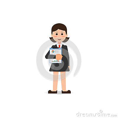 Happy business woman in suit standing with statistics file in ha Vector Illustration
