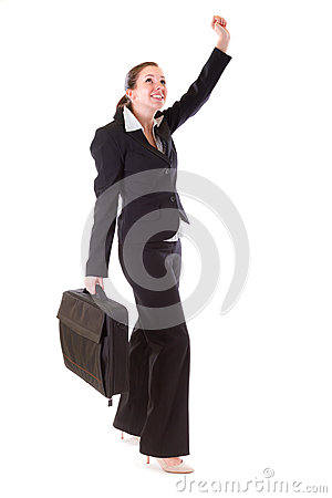 Happy business woman with the suitcase