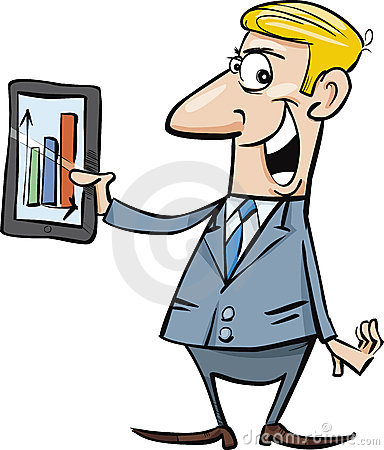 Happy businessman with chart on tablet