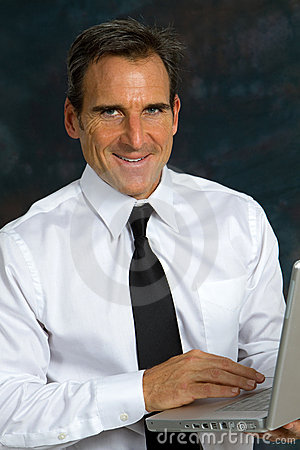Happy Businessman Computer