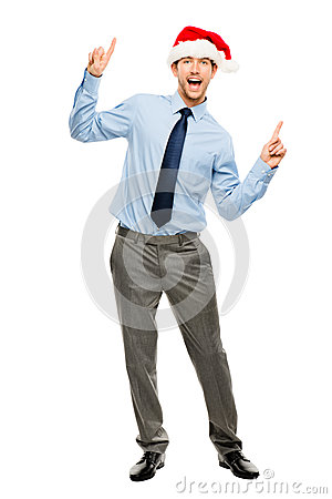 Happy businessman dancing excited about Christmas bonus full len