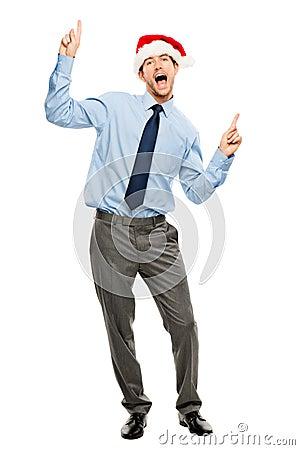 Happy businessman dancing excited about Christmas bonus full len