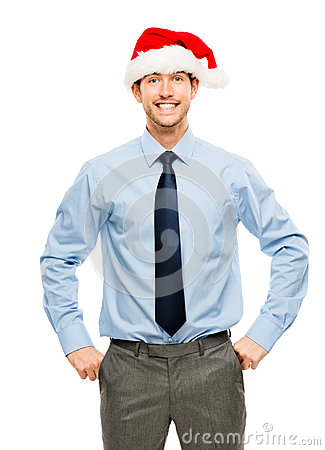 Happy businessman excited about Christmas bonus portrait isolate