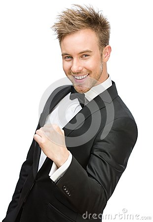 Happy businessman fists gesturing