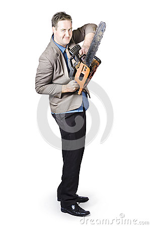 Happy Businessman Holding Chainsaw