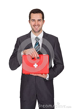 Free Happy Businessman Holding First Aid Box Stock Photos - 29156653