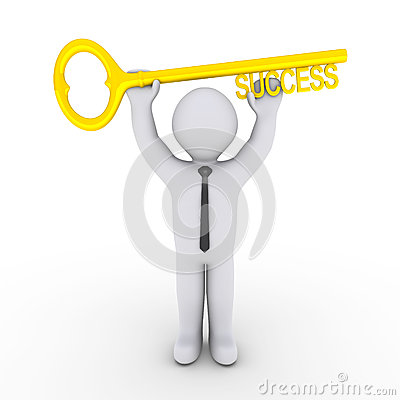 Happy businessman holding success-key