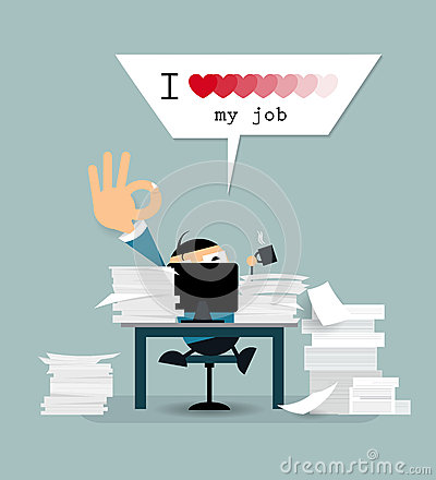 Free Happy Businessman Is Working Hard With Text  I Love My Job  Royalty Free Stock Images - 64511339