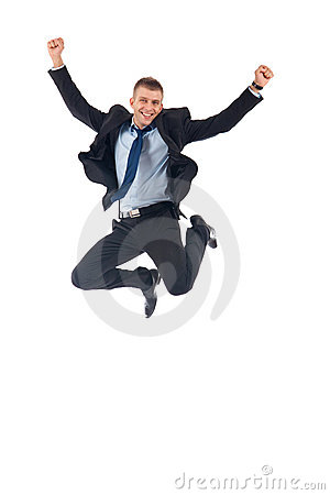 Free Happy Businessman Jumping Royalty Free Stock Photo - 14809065