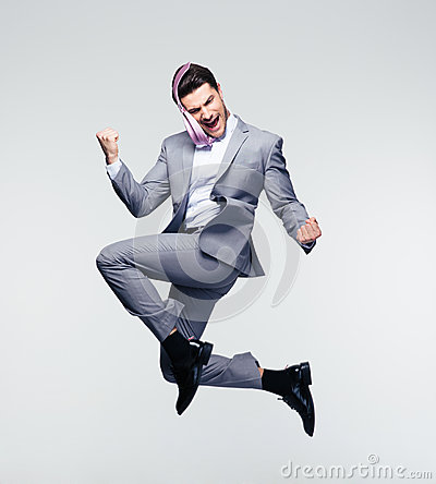 Free Happy Businessman Jumping In Air Royalty Free Stock Photo - 55129535