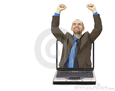 Happy businessman and laptop  (with space for your text)