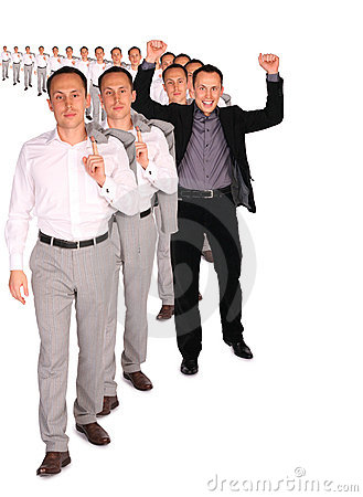 Happy businessman from people file collage