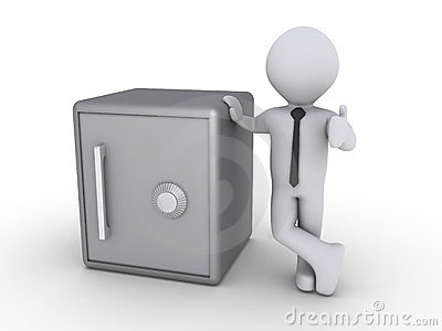 Happy businessman with safe