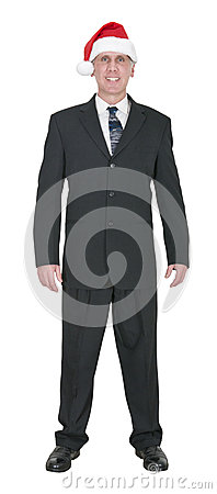 Happy Businessman Smile with Santa Claus Hat Isolated