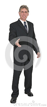 Happy Businessman With Smile, Shake Hands, Isolated