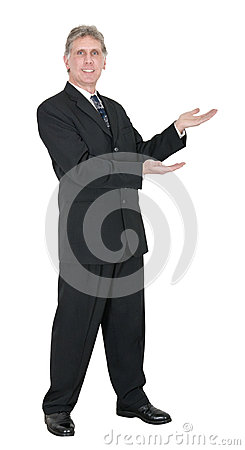 Happy Businessman With SMile, Your Product Here Isolated