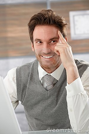 Happy businessman smiling Stock Photo