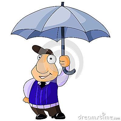 Happy businessman under umbrella