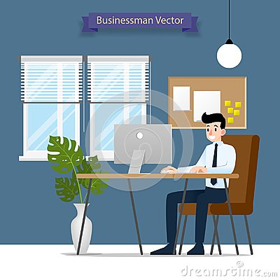 Happy businessman working on a personal computer, sitting on a brown leather chair behind the office desk. Vector Flat style Illus Vector Illustration