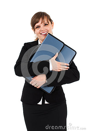 Happy businesswoman with briefcase