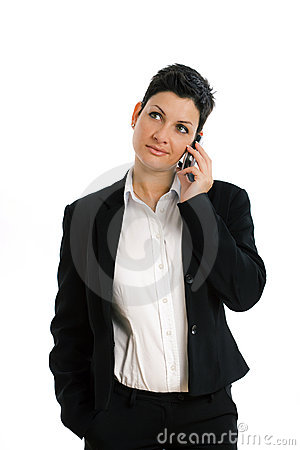 Happy businesswoman calling isolated