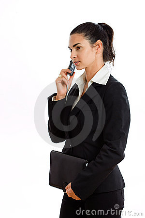 Happy businesswoman calling on phone isolated