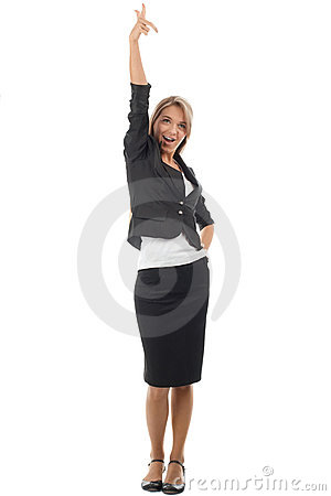 Happy businesswoman celebrating her victory