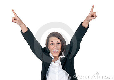 Happy businesswoman cheering