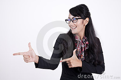 Happy businesswoman gesturing isolated on white