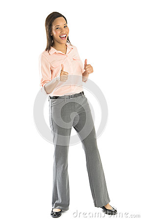 Happy Businesswoman Gesturing Thumbs Up