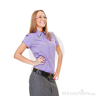 Happy businesswoman in glasses laughing
