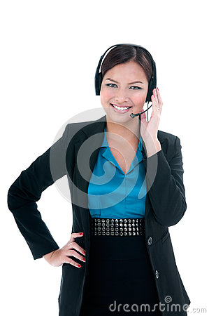 Happy Businesswoman With Headset Royalty Free Stock Photo - Image: 28229055