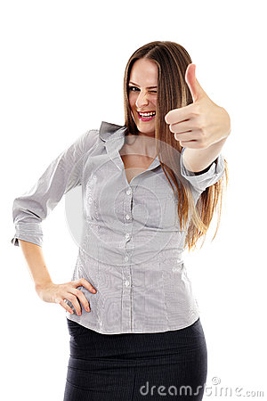 Happy businesswoman making thumbs up sign