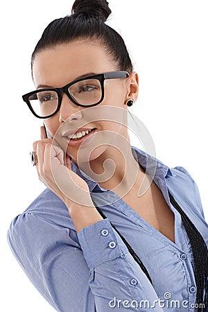 Happy businesswoman on mobile phone