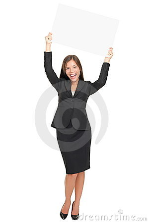 Happy businesswoman showing sign