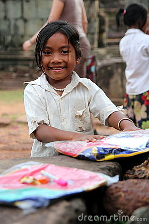 Happy Cambodian Girl Editorial Stock Image