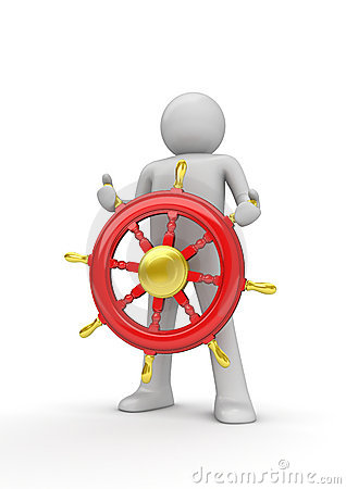 Free Happy Captain Steering The Wheel Royalty Free Stock Photography - 13267857