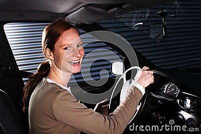A Happy Car Driver at Night