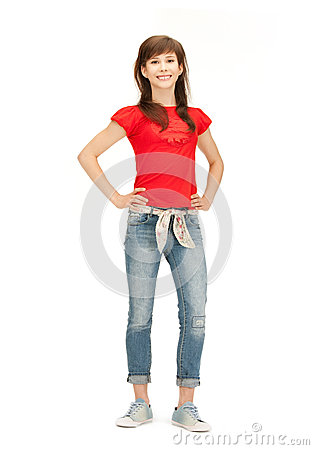 Happy and carefree teenage girl Stock Photo