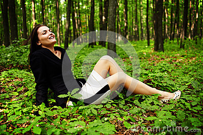 Happy careless businesswoman outdoor