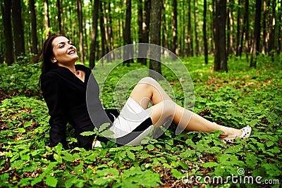 Happy careless businesswoman outdoor