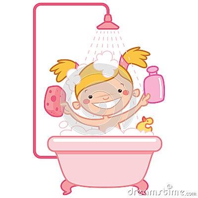 Happy Cartoon Baby Girl Kid In Pink Bath Tub Stock