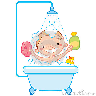 Happy Cartoon Baby Kid In Bath Tub Royalty Free Stock